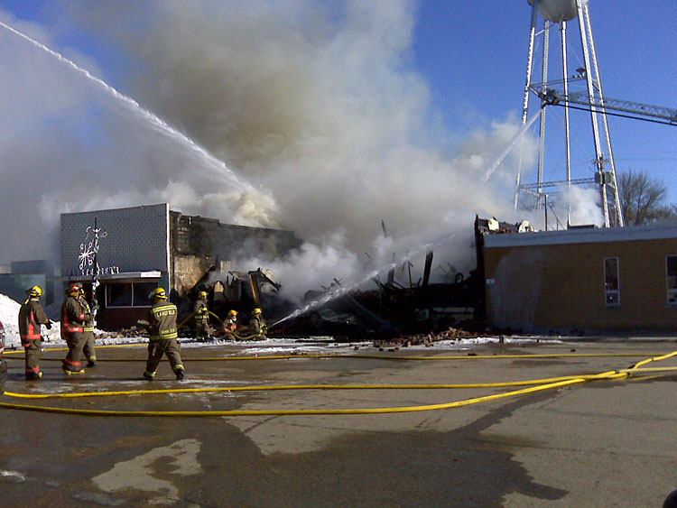 The fire department relied heavily on mutual aid to battle the downtown fire on December 28, 2008. Ten other departments assisted Lake Park that day.